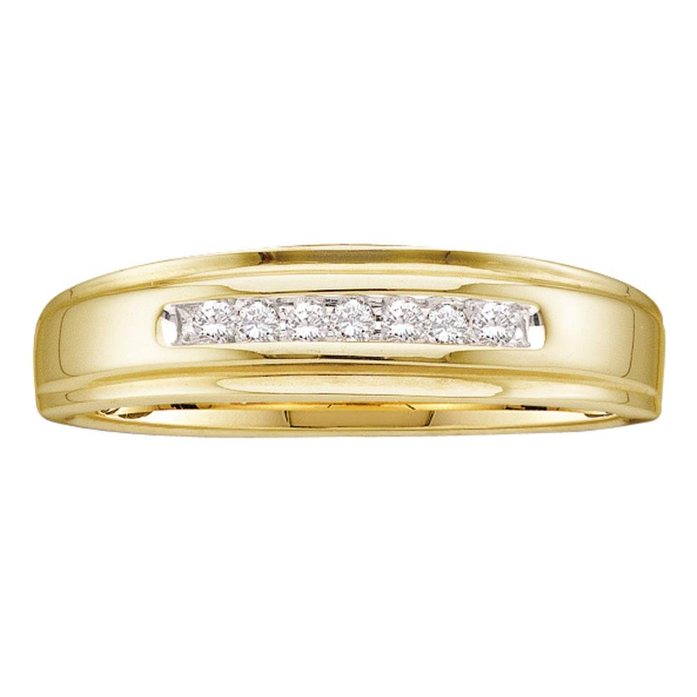 14k Yellow Gold Round Channel-set Natural Diamond Mens Masculine Wedding Band (.08 cttw.) (I2-I3)