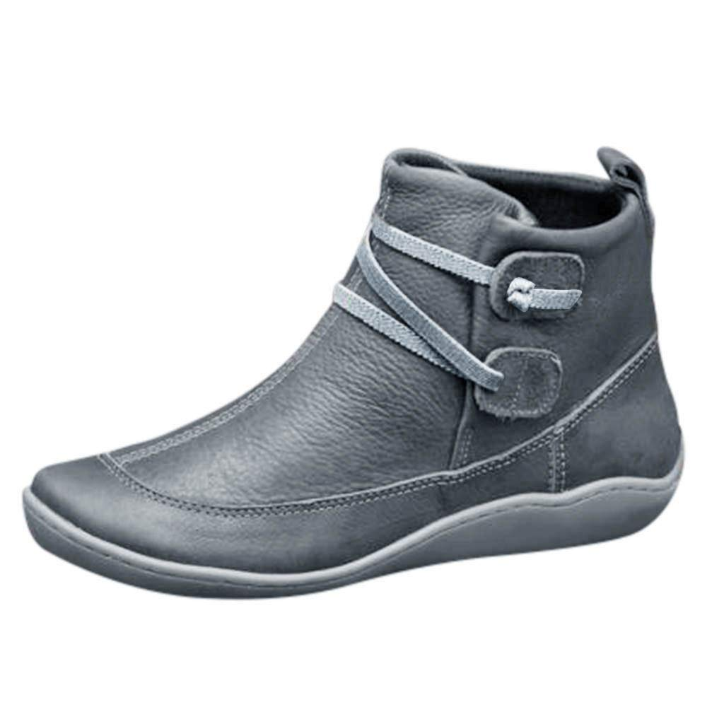 Women's Vintage Leather Bootie Flat Waterproof High Top Shoes Winter Round Toe Ankle Boots, Gray, 8.5 M US by OcEaN Shoes