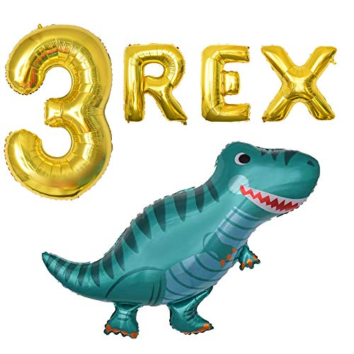 B Day Ballons (OMG Party Factory - Dinosaur Balloons Mylar Foil Birthday Party Decorations Party Ballon Supplies 3rd Bday (3)