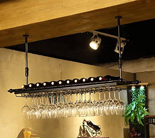 Ceiling Wine Racks Adjustable Height Wall Mounted Hanging Wine Bottle Holder Metal Iron Wine Glass Rack Goblet Stemware Racks Vintage Style Creative Bar Decoration Display(Color : Black)
