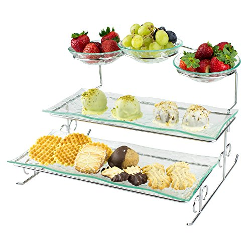 3 Tier Server Stand with Trays & Bowls - Tiered Serving Platter - Perfect for Cake, Dessert, Shrimp, Appetizers & More -