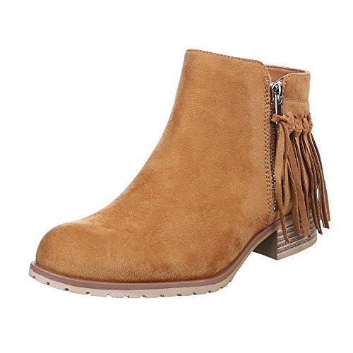 Design Camel plisadas Botas Beige Mujer Ital OdwXq1X