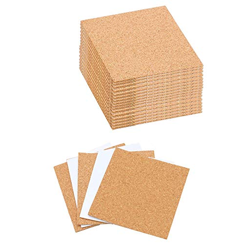40 Pack Self-adhesive Cork Coasters Squares Cork Mats Cork Backing Sheets for Coasters Mini Wall Cork Tiles and DIY Crafts Supplies (40 pack)