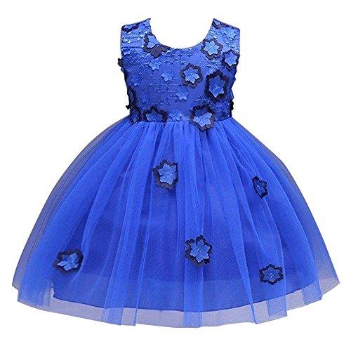 JIANLANPTT Kids Princess Girls Flower Bowknot Lace Knee Tutu Dresses Wedding Party Dress Blue 90(1-2years)