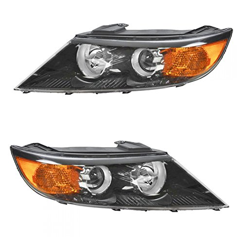 Headlight Head Lamp Driver & Passenger Pair Set of 2 for 11-13 Kia Sorento