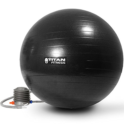 Titan Fitness Exercise Stability Ball Black 65cm Yoga Pilates Anti Burst w/ Pump