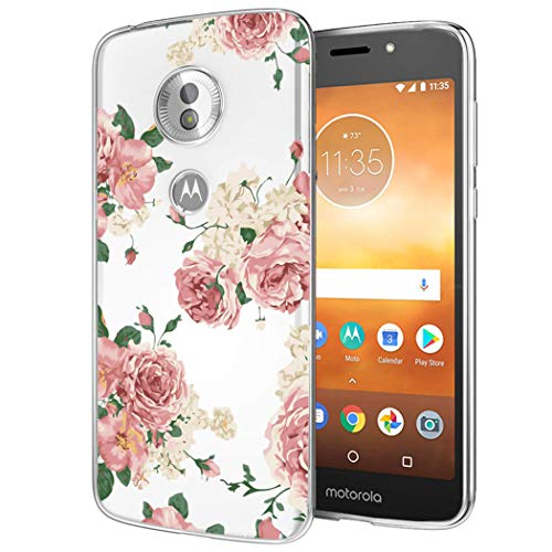 Sophmy Moto E5 Play Case, Moto E5 Cruise Phone Case with Flowers, Slim Shockproof Clear Floral Pattern Soft Flexible TPU Back Phone Cover for Motorola Moto E5 Play (Pink Flower)