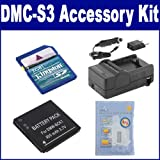 Panasonic Lumix DMC-S3 Digital Camera Accessory Kit includes: ZELCKSG Care & Cleaning, KSD2GB Memory Card, SDBCK7 Battery, SDM-1540 Charger