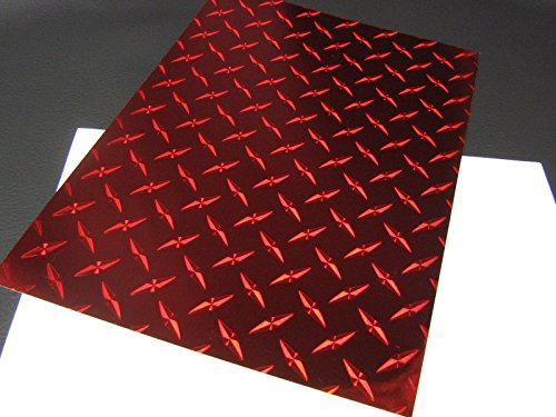 (Roll of Diamond Plate Classic Sign Vinyl, with Self-Adhesive (Red, 12 inch x 30 ft))