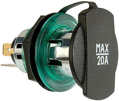ProCar 68041000 Power Steckdose mit Montageplatte und Spannh/ülse gr/ün BV230893