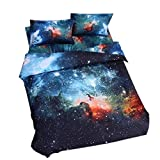 Alicemall Galaxy Bedding Full Size Outer Space Home Textile Fabric Polyester 4-Piece Duvet Cover Sets, Blue Galaxy Bedding, No Comforter (Full)