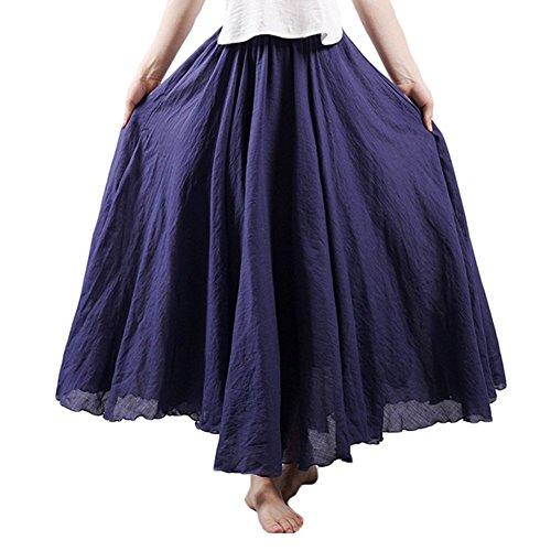 - Asher Women's Bohemian Style Elastic Waist Band Cotton Linen Long Maxi Skirt Dress (95CM, Navy Blue)