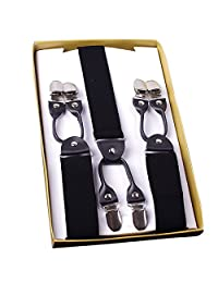 Panegy Men's Clip-on Suspenders Elastic Y-Shape Wide Adjustable Braces-Black