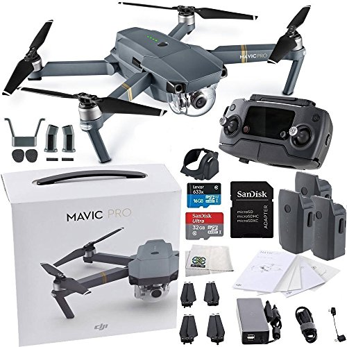 DJI Mavic Pro Collapsible Quadcopter Drone Ultimate Bundle w/ Remote Controller, Intelligent Flight Battery, 8330 Folding Propellers, Gimbal Clamp, Charger, AC Power Cable, 16GB microSD Card + More