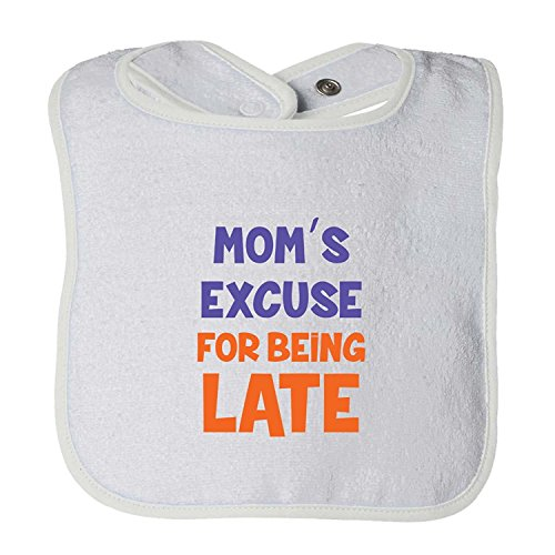 Mom'S Excuse For Being Late Infant Contrast Trim Terry Bib Christopher Macadam