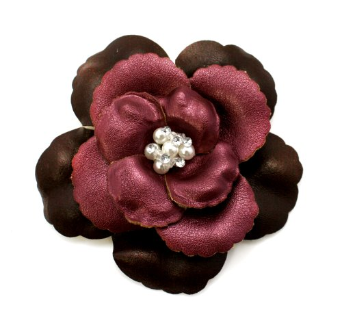 EK Success Brands Laliberi Pin and Clip Flower, Two-Tone Plum and Brown