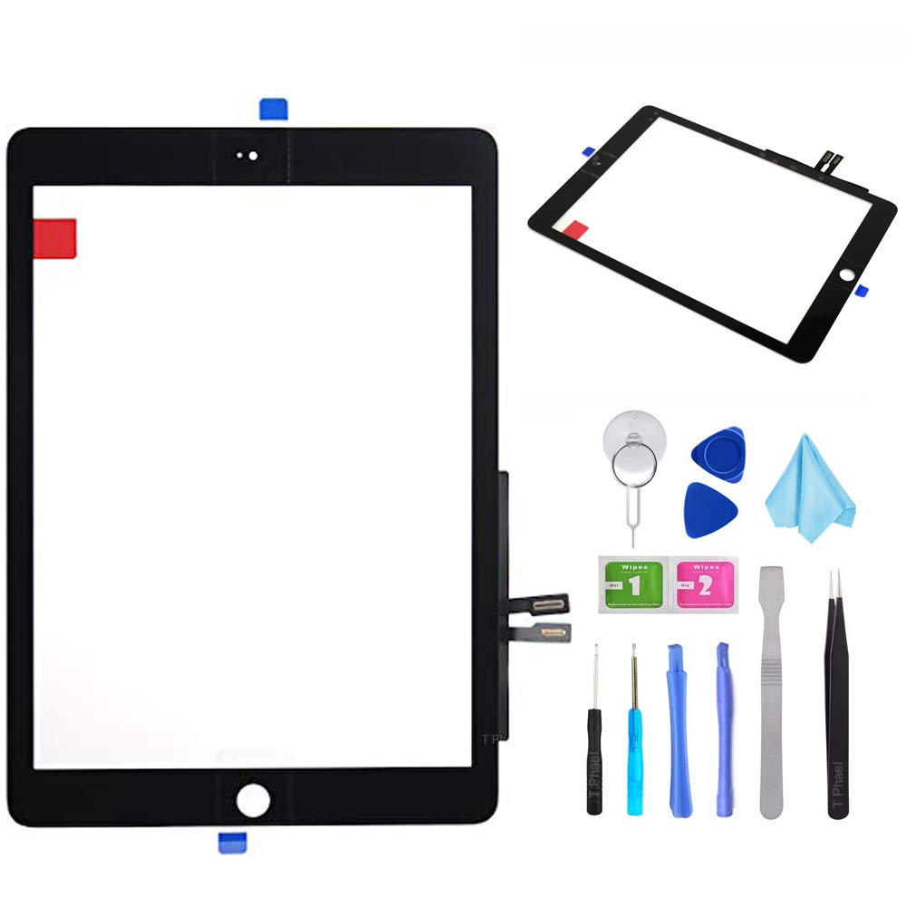 Black Touch Screen Digitizer Repair Kit for iPad 9.7'' 2018 iPad 6 6th Gen A1893 A1954 Front Glass Replacement (Without Home Button,not Include LCD) +Pre-Installed Adhesive + Tools