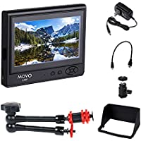 Movo 7 LCD On-Camera Video Field Monitor Bundle (HD 800x480) with 11 Articulating Magic Arm Mount, Sun Shade, AC Adapter, Battery Plate & HDMI/Component Inputs for DSLR Cameras & Camcorders