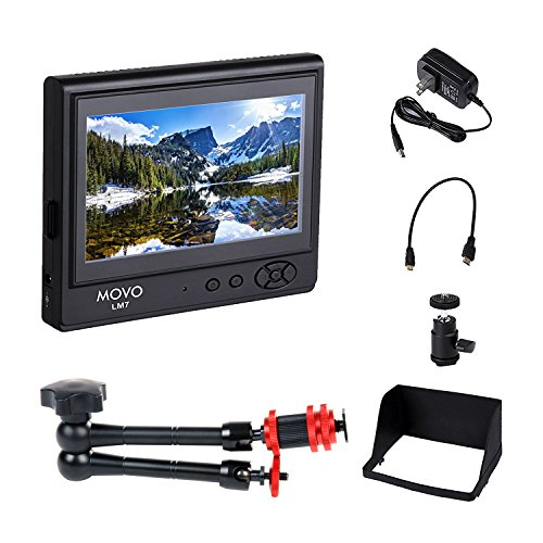 Movo 7'' LCD On-Camera Video Field Monitor Bundle (HD 800x480) with 11'' Articulating ''Magic'' Arm Mount, Sun Shade, AC Adapter, Battery Plate & HDMI/Component Inputs for DSLR Cameras & Camcorders by Movo