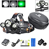Best LED Headlamp Flash Light - Waterproof Super Bright Head Flashlight & Green Lights Adjustable for Camping Reading Hiking Running Fishing Hunting Cycling - Brightest Work Lamp Headlight