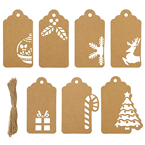 Koogel Christmas Hollow-Out Gift Tags,140 Kraft Paper Tags,Kraft Paper Christmas Gift Tags,Tags for Christmas DIY Craft