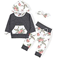 Seyouag Toddler Baby Girl Boy Clothes Hoodie Top and Florals Print Pants Headband Outfit Winter Sweatshirt