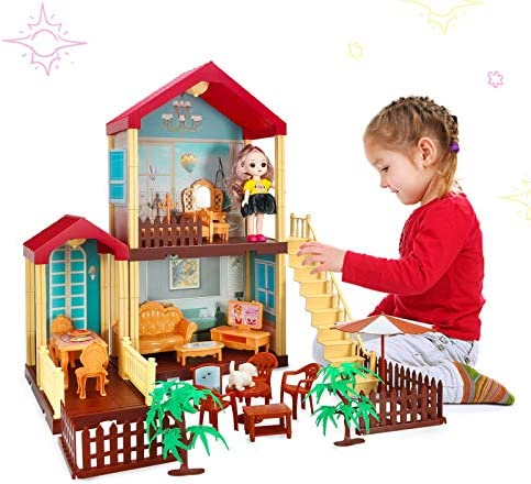 Princess Dollhouse Building Toys Dream House Playset for Girls Friends House with Furniture, Dolls and Accessories, DIY Cottage Dolls House for Kids Age 3+ Gifts STEM Toys (2-Story House)
