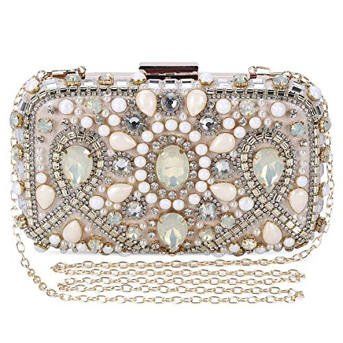 - Clocolor Evening Bags and Clutches for Women Crystal Rhinestone for Wedding Party Beaded Clutch Purse Pearl Handbag(apricot)