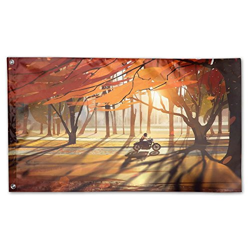 Garden Flag Autumn Trees Forest Motorcycle Outdoor Yard Home Flag Wall Lawn Banner Polyester Flag Decoration 3' X -