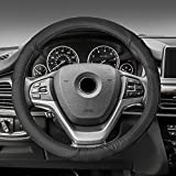 FH Group FH2001BLACK Steering Wheel Cover (Perforated Genuine Leather Black)