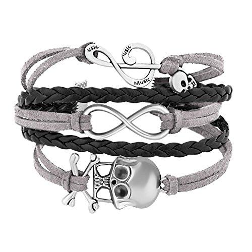 Gray Black Braided Leather Wrap Bracelet Sideways Infinity Skull Music Note Girls Wristband Bracelets