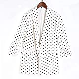 Molif Spring Women Blazer Jacket None Button Work Office Lady Suit Slim Business Blazer Coat Black Spots On White XL