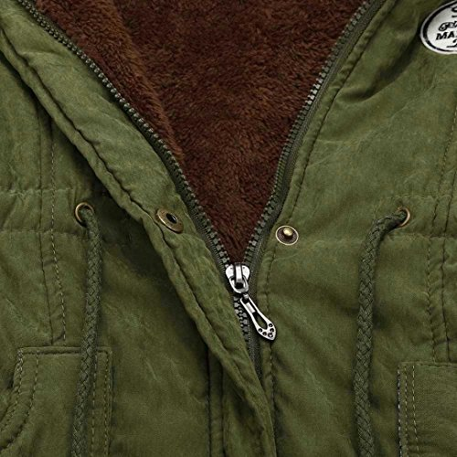 con KaloryWee para Verde Cuello Invierno las Piel Largo Chaqueta de Chaqueta Mujer Ejercito Capucha de Mujeres de Piel Abrigo de de Cálido 88pqxF