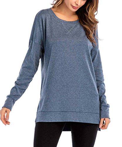 PALINDA Women's Long Sleeve Crewneck Casual Side Split Loose Pullover Tunic Tops (Blue,XL) - Split Womens Sweaters