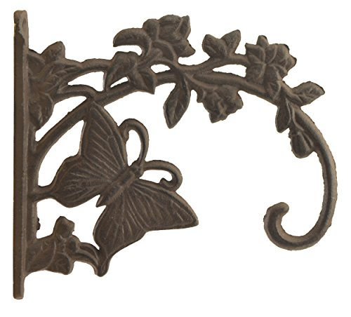 Decorative Butterfly Design Cast Iron Plant Hanger Hook 7.75