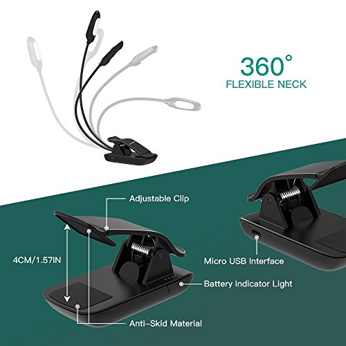 LED Book Light, TopElek 10 LEDs Reading Light, Micro USB Rechargeable, Dual 360° Flexible Arms, Adjustable Clip, with Travel Bag for Kindle, Computer, Books Reading, Black by TOPELEK (Image #2)'