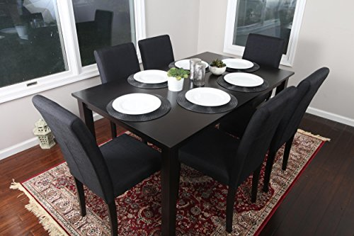 7 pc Black Linen 6 Person Table and Chairs Dining Dinette - 150255 Black Parson Chair
