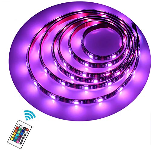 imenou Battery Powered Led Strip Lights 24 Keys RF Remote, USB Battery Operated TV Backlight Flexible Waterproof Colorful RGB SMD5050 Neon Led Light Strip Decorative Lighting for Home Kitchen Ad Sign by imenou