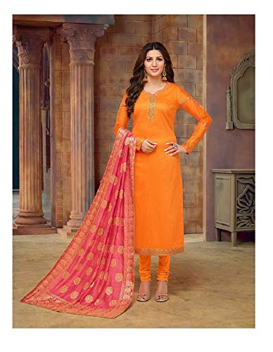 Heavy Embroidered Jam Cotton Fabric Churidar Salwar Suit with Banarasi Silk Dupatta (0X-Plus, - Silk Suit Churidar