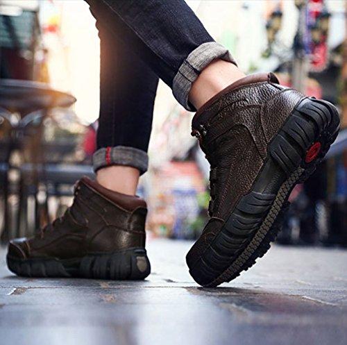 Scarpe Stivali Stile Stivaletti Piattaforma Martin Sintetica Yiiquan Moda Marrone Bassa 1 Uomo di Strada Pelle zFp1xgwq7