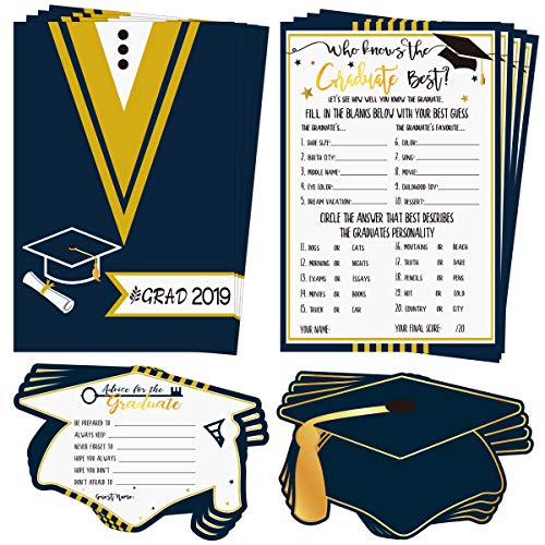 30Pcs Graduation Game Cards and 30Pcs Graduation Advice Cards, 60 in total for 2019 High School/College/University Grad Party Supplies Games Activities Invitations, Graduate Favors Decorations]()