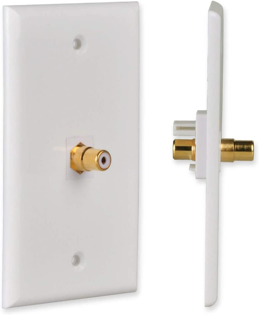 RCA Keystone Jack Wall Plate Female to Female Connector for Subwoofer Audio 1-Pack Conwork 1-Port RCA Wall Plate