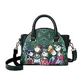 SanCanSn Crossbody Bags, Women Forest Girls Pattern Printing Single Shoulder Bag Handle Zipper Handbag (1PC, Green)