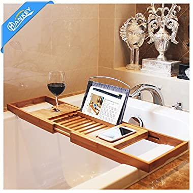 Bamboo Bathtub Caddy Tray (Extendable) Luxury Spa Organizer with Folding Sides   Natural, Ecofriendly Wood   Integrated Tablet, Smartphone, Wine, Book Holders