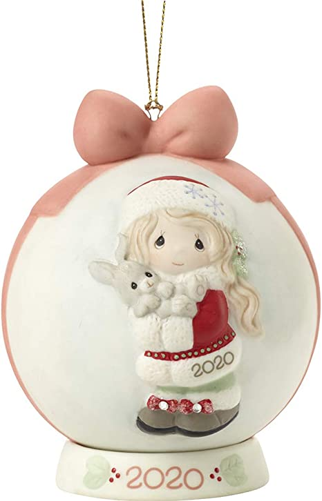 Amazon Com Precious Moments 201003 Every Bunny Loves A Christmas Hug 2020 Dated Girl Bisque Porcelain Ball Ornament Multi Home Kitchen