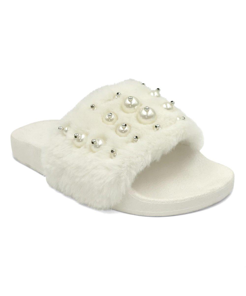 Women Open Toe Fuzzy Furry Faux Fur Rubber Soles Platform Flip Flop Slip-On Sandals (8, Pearl White)