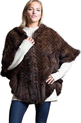 Mink Poncho - Overland Sheepskin Co Bettina Zip-Front Herringbone Knitted Mink Fur Poncho
