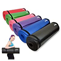 JLL Yoga Mat Extra Thick 15mm Non-Slip Pilates Workout Exercise Mat available in Black/Blue / Purple/Pink / Green/Red. Also Ideal as Camping Mat.