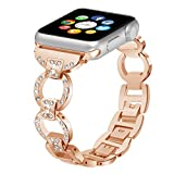 38mm Watch Bands Metal for Apple Watch Bands 38mm Women Diamond Rhinestone Replacement Wristbands Iwatch Strap Bracelet Series 1 2 3