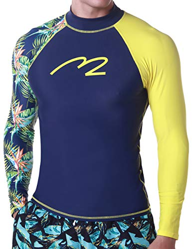 Carry On Long Sleeve - MZ Garment Rash Guard Men UV Sun Protection Basic Skins Long Sleeve Crew Sun Shirt Surfing Shirt (015-leaf, L)